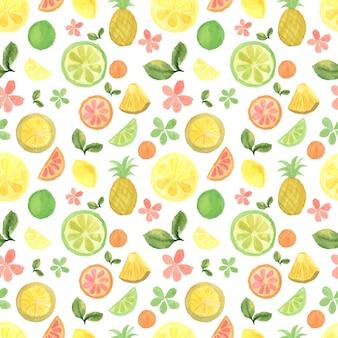Sfondo senza soluzione di continuità con frutti tropicali ad acquerello