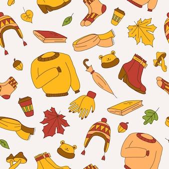 Sfondo senza soluzione di continuità che simboleggia l'autunno luminoso stile cartone animatoillustrazione vettorialeicone adesive