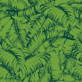 Modello di foglie di banana senza soluzione di continuità per tessuti di moda, illustrazione vettoriale di piante di linea nera.