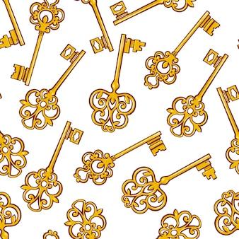 Bellissimo sfondo senza soluzione di continuità con le chiavi retrò d'oro