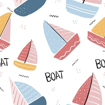 Modello di barca senza soluzione di continuità con vela e yacht disegnati a mano su sfondo bianco