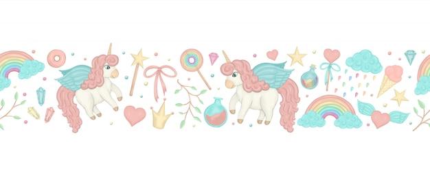 Pennello per bordi senza soluzione di continuità con unicorni in stile acquerello carino, arcobaleno, cristalli, cuori.