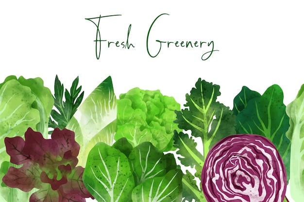 Bordo senza cuciture composto da verdure fresche ed erbe