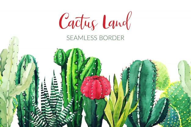 Confine senza soluzione di continuità composto da piante di cactus dell'acquerello