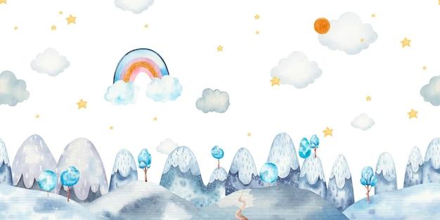 Modello di bordo senza cuciture con paesaggio di montagna, nuvole, alberi, arcobaleni, nuvole, illustrazione