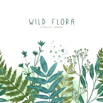 Bordo senza giunte con elementi floreali selvaggi