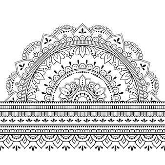 Confini senza soluzione di continuità con il mandala. motivo decorativo in stile etnico orientale, indiano. ornamento di doodle. illustrazione di tiraggio della mano di contorno.