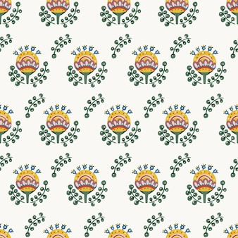 Motivo floreale botanico senza cuciture di elementi in stile etnico popolare