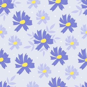 Seamless pattern botanico con fiori blu