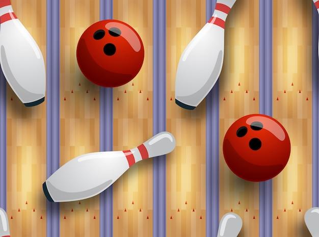 Modello bowling senza soluzione di continuità. pista da bowling, palla, birilli sul pavimento.
