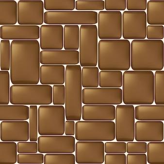 Muro di pietra levigato marrone senza soluzione di continuità. illustrazione vettoriale.