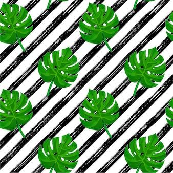 Seamless pattern tratto di pennello. strisce disegnate a mano nera con foglie di palma tropicale.