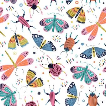 Modello senza cuciture di farfalle e insetti in stile scandinavo. Vettore Premium
