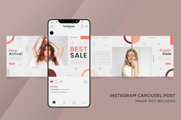Banner di modelli instagram carosello senza soluzione di continuità per vendita di moda colorato