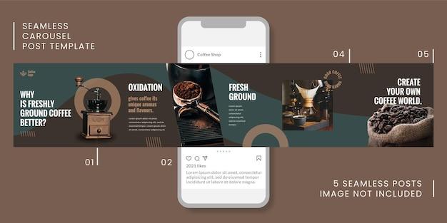 Modello di post carosello senza soluzione di continuità con tema caffè per i social media.