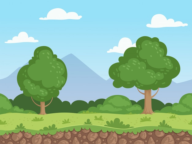Cartone animato senza soluzione di continuità. panorama della natura di parallasse frantumato con il fondo degli alberi e delle rocce di erba