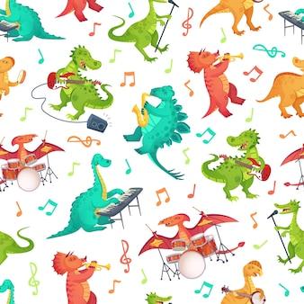 Seamless cartoon musica dinosauri pattern. dino band, simpatico dinosauro che suona strumenti musicali e illustrazione di tirannosauro rockstar.