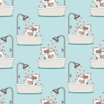 I gatti senza cuciture stanno facendo il bagno