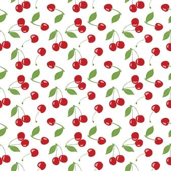 Modello di ciliegio senza soluzione di continuità, ciliegie rosse e sfondo bianco per progetti di design scrapbooking, giftwrap, tessuto e carta da parati. disegno del modello di superficie.