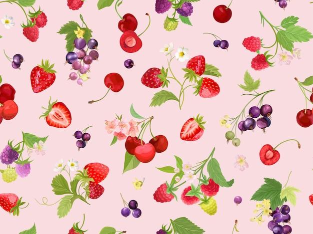 Motivo senza cuciture ciliegia, fragola, lampone, ribes nero con bacche estive, frutti, foglie, sfondo di fiori. illustrazione vettoriale in stile acquerello per copertina primaverile, trama, sfondo avvolgente