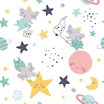 Modello infantile senza cuciture con stelle che catturano simpatici elefanti pianeti nuvola luna e stelle