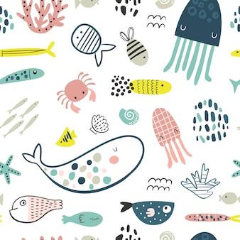 Modello infantile senza cuciture con tucani colorati texture per bambini in stile scandinavo creativo per tessuto