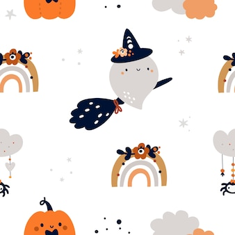 Seamless pattern infantile con simpatico fantasma, zucca e arcobaleni in stile scandinavo