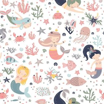 Seamless pattern infantile con simpatiche sirene.