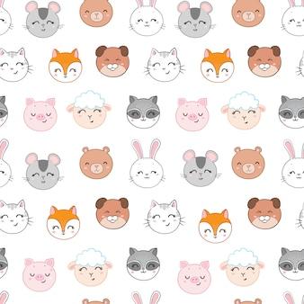 Seamless pattern infantile con facce di animali divertenti