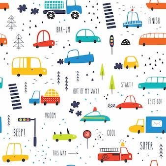 Seamless pattern infantile con disegnati a mano cartoon cars