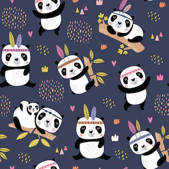 Seamless pattern infantile con panda carino disegnati a mano.