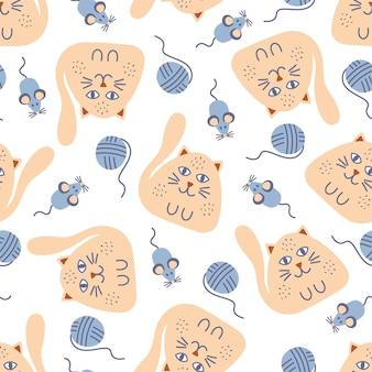 Reticolo senza giunte per bambini con gatti zenzero simpatico cartone animato e topi blu su sfondo bianco. perfetto per il design dei bambini, tessuti, imballaggi, carta da parati, tessuti, decorazioni per la casa.