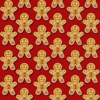 Omino di pan di zenzero biscotto di natale senza soluzione di continuità. pattern, sfondo rosso.