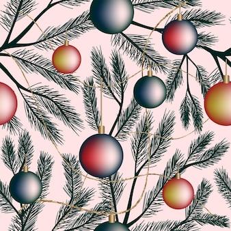 Natale senza cuciture motivo festivo sfondo bianco gradiente palle di capodanno ramo di abete