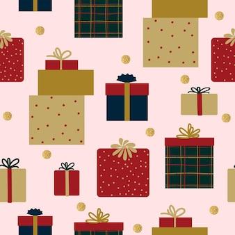 Natale senza cuciture modello astratto scatole regalo sfondo bianco vacanza capodanno oro coriandoli