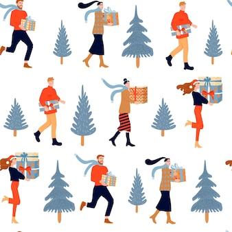 Motivo natalizio senza soluzione di continuità gente felice con regali e abete