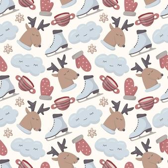 Seamless pattern di natale. immagini invernali di doodle carino isolato.