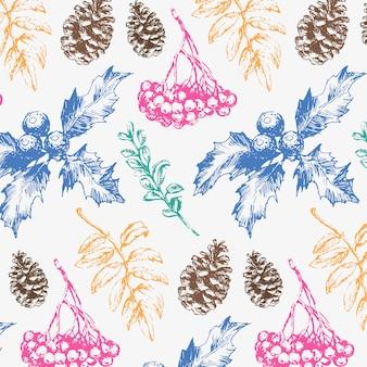Seamless pattern di natale con rami di abete blu e verde, coni e bacche.