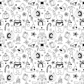 Seamless pattern di natale con simpatici personaggi ed elementi di vacanza