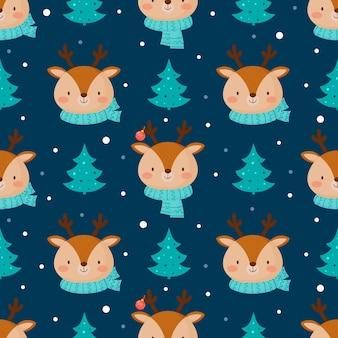 Seamless pattern di natale con graziosi cervi.