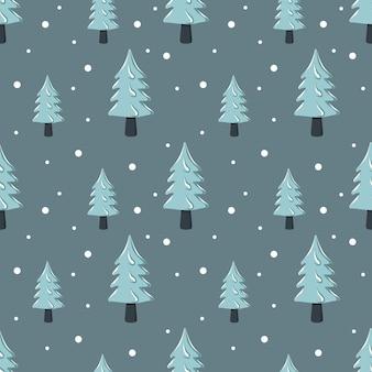 Motivo natalizio senza cuciture con abete e albero nella neve