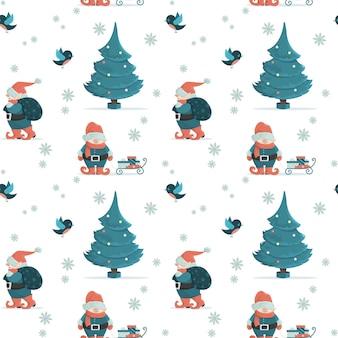 Motivo natalizio senza cuciture con gnomi, albero di natale e regali. illustrazione in stile cartone animato.