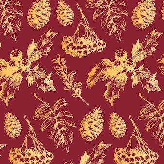 Seamless pattern di natale con rami di abete dorato, coni e bacche.
