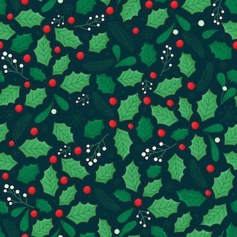 Seamless pattern di natale con foglie di agrifoglio, rami di abete, foglie verdi e bacche