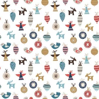 Seamless pattern di natale con ornamenti, uccelli, angeli e cervi