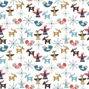 Seamless pattern di natale con ornamenti, stelle, fiocchi di neve, angeli e cervi