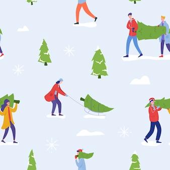 Seamless pattern di natale con persone che acquistano alberi di natale e celebrano le vacanze invernali. uomini, personaggi femminili, celebrazione del capodanno in famiglia sfondo per carta da parati, design.