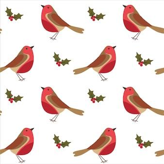 Seamless pattern di natale con robin bird e bacche