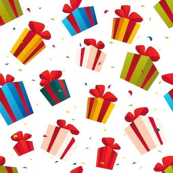 Seamless pattern di natale con set di scatole presenti e regalo su sfondo bianco. felice anno nuovo, buon natale, decorazioni natalizie. buono per pacchetto, imballaggio. stile cartone animato.