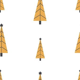 Modello di natale senza cuciture con albero ornamento di natale con colore dorato carta digitale